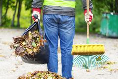 Man with brush and rake collects leaves Stock Photos