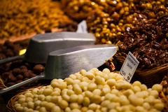 Stock Photo of dried fruits at the market (la boqueria, barcelona famous place)
