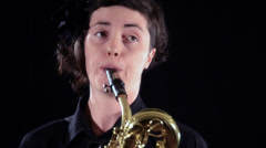 Baritone saxophone player, close up Stock Footage