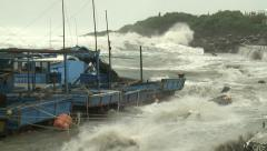 High Tide Floods Fishing Port In Hurricane Stock Footage