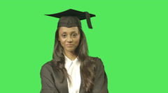 Stock Video Footage of Portrait of female graduate student with certificate on green screen celebrating