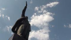 Lenin statue in Bishkek, capital of former Soviet republic Kyrgyzstan, timelapse Stock Footage