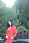 outdoor fashion shoot with a latin model - stock photo