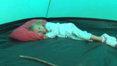 Child, Little Girl Sleeping, Playing in Camping Tent in Mountains, Tourist, Trip Stock Footage