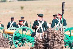 Historical reenactment of the Crimean War - stock photo