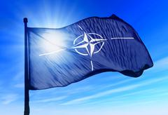 nato flag waving on the wind - stock illustration