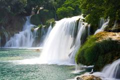 waterfalls on krka river. national park, dalmatia, croatia - stock photo
