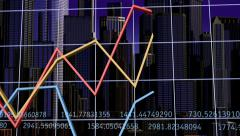 Skyscrapers & Graphs Stock Footage