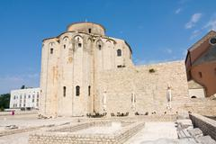 church of st. donat, a monumental building from the 9th century in zadar, cro - stock photo