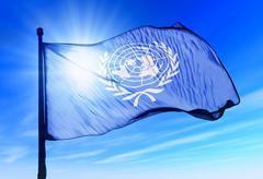 un flag waving on the wind - stock illustration