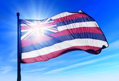 Hawaii (usa) lippu heiluttaen tuulessa Piirros