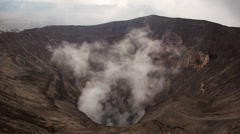 Stock Video Footage of Gunung Bromo Volcano Crater
