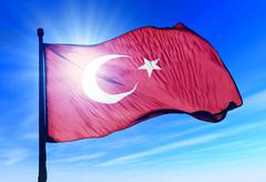 turkey flag waving on the wind - stock illustration