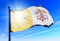 vatican city flag waving on the wind - stock illustration