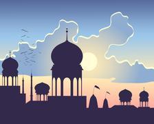 India sundown Stock Illustration