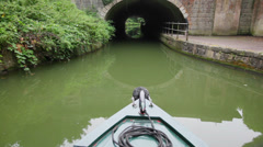 Canal Boat Through Tunnel - stock footage