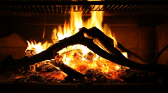 Fire in fireplace - stock footage