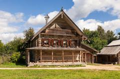traditional russian old wooden house - stock photo