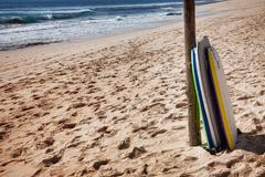 bodyboards on the beach - stock photo