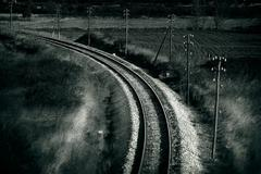 old railroad , artistic retro style toned photo - stock photo