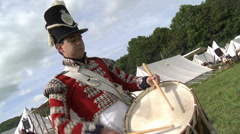 Napolionic War Era Army Drummer Re enactor Stock Footage