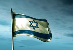 Israel flag waving in the evening Stock Illustration