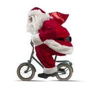 Santa claus on the bike Stock Photos