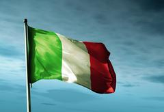 Italy flag waving in the evening Stock Illustration