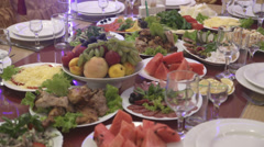 Luxury table with food for a banquet - stock footage