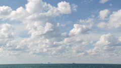 Warships and merchant ships on the horizon Stock Footage