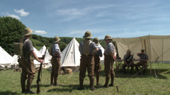 WWI British Army Re enactors Stock Footage