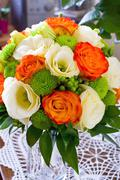 Wedding bouquet of yellow and white and orange roses Stock Photos