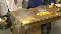 Liquid nitrogen in use in UK high school. Stock Footage