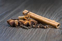 Cinnamon, cloves and anise Stock Photos
