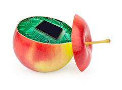 cut apple inside with electronic circuit - stock illustration