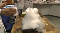 Liquid nitrogen in use in UK high school. Stock Footage