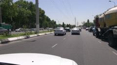 Taxi drive through Tashkent, Uzbekistan's capital Stock Footage