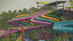 Curved Collection of Water Slides in Orlando Stock Footage