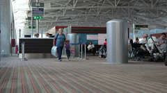 Larnaca international airport hall, Cyprus Stock Footage
