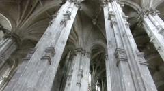 Vaulted ceiling at Church of St Eustace, Paris (PARIS Saint-Eustache--1b) Stock Footage