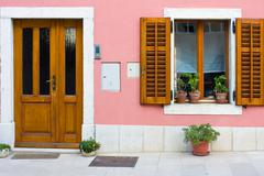 Window with flowers, dalmatia, croatia Stock Photos