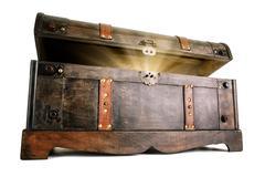 Treasure chest reveals a luminous secret Stock Photos