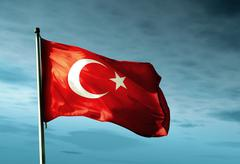 Turkey flag waving in the evening Stock Illustration