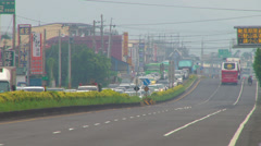 Typhoon evacuation traffic - stock footage