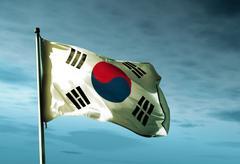South korea flag waving in the evening Stock Illustration