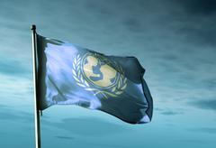 UNICEF lippu heiluttaa illalla Piirros