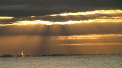 Golden Sunset Over Lake - stock photo