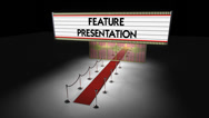 Stock Video Footage of marquee: feature presentation with camera move