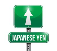 Yen currency road illustration design Stock Illustration