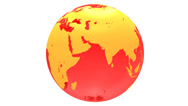 Spinning red glass earth globe Stock Footage